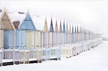 Colin Westgate, 'Beach Huts in the Snow' Mersea Island, Essex, Urban View
