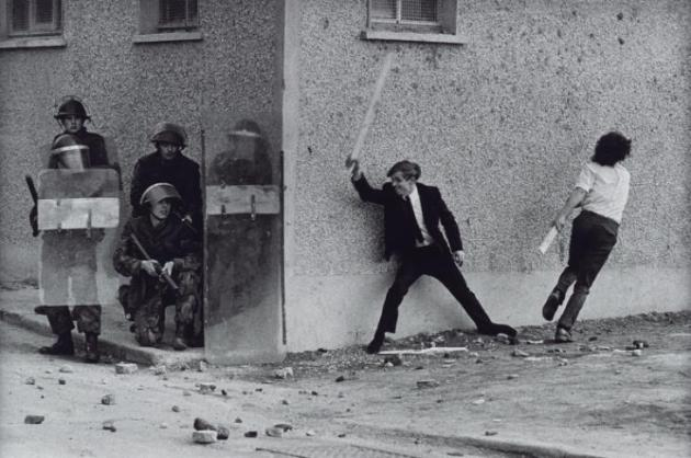 Catholic Youths Attacking British Soldiers in the Bogside of Londonderry 1971, printed 2013 by Don McCullin born 1935